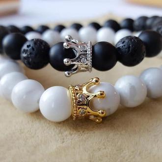 Парные браслеты с коронами из натурального камня Вулканическая Лава + Белый Агатг + Шунгит.