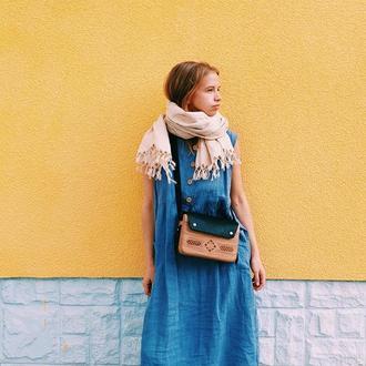 Льняной шарф с бахромой