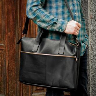 Деловая черная кожаная мужская сумка. Повседневная кожаная сумка