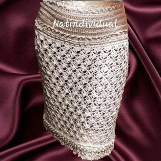 Шёлковая вязаная юбка цвета кофе с молоком.