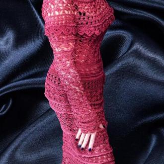 Шелковое бордовое вязаное платье,заказать