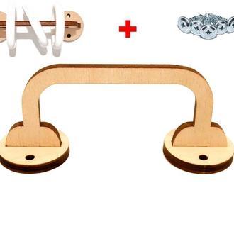 Заготовка для Бизиборда Деревянная Ручка 12 см из фанеры для колец колечек под счеты с кольцами