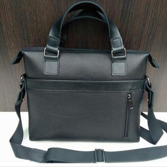 Черная деловая сумка из натуральной кожи