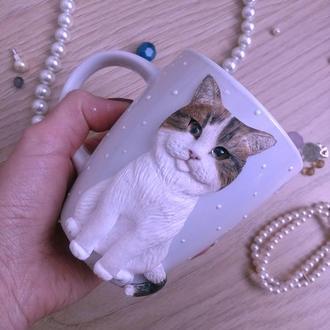 Чашка с котом из полимерной глины