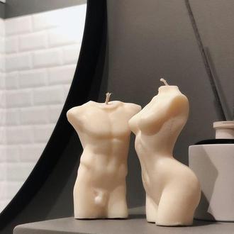 Ароматизированная соевая свеча. Мужской и женский торс. Тренд 2020года