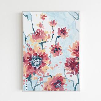 Велики цветы Нежная картина мазками Подарок женщине