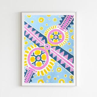 Геометрические орнаменты в пастельных тонах, Картина в детскую комнату, на подарок