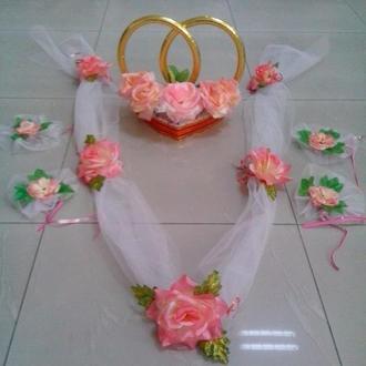 Персиковый свадебный комплект для украшения машины