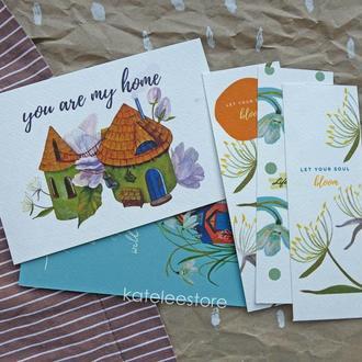 """Набор из 2 открыток и 3 закладок """"Blossom"""""""