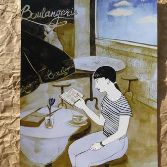 """Арт-принт """"Кафе"""", акварельный постер а4, постер на кухню, декор в детскую, постер в детскую"""