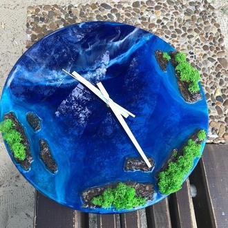 Настенные часы из эпоксидной смолы ,картина-часы в технике resin art