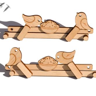 Заготовка для Бизиборда Птички Клюют Кашку Деревянный Механизм Дерев'яний Механізм Пташки