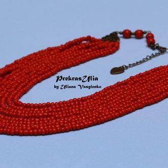 Червоне намисто на 9 ниток