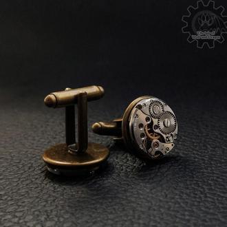 Мужские запонки в строгом стиле steampunk минимализм с часовыми механизмами ( 1 пара в наличии)