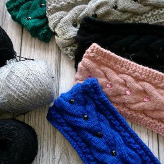 Комплект вязаных повязок на голову - теплые повязки на голову, для осени, для зимы