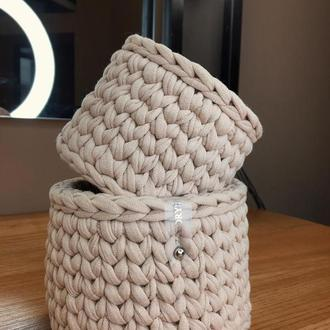 Набор из 2-х корзин из трикотажной пряжи