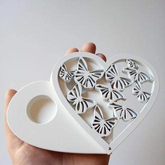 Шкатулка для обручальных колец сердце с бабочками