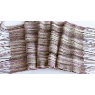 Коричневый шерстяной шарф в полоску Валяный шарф из шерсти мериноса
