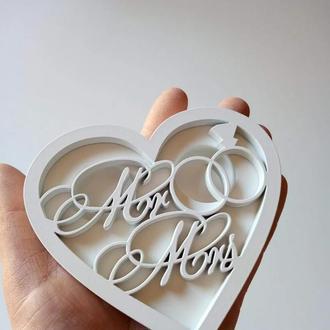 Шкатулка для обручальных колец сердце  Mr Mrs