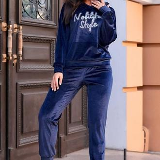 Костюм спортивный женский батал nobilitas 50 - 56 синий велюр (мод. 20043)