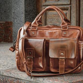 Мужской кожаный саквояж для путешествий. Кожаная дорожная сумка.