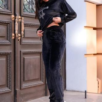 Костюм спортивный женский батал nobilitas 50 - 56 черный велюр (мод. 20043)
