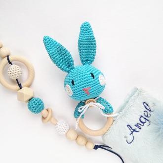 Подарунковий набір для хлопчика брязкальце зайчик і гризунок тримач