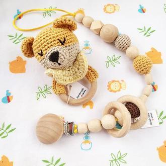 Набор для малыша мишка погремушка и держатель грызунок