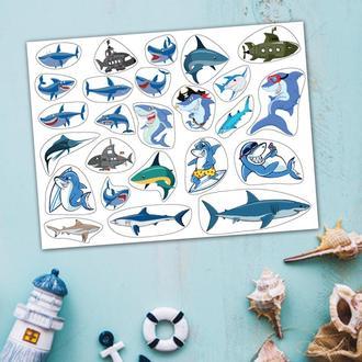 "Большой лист наклеек ""Акулы"". 20х15 см."