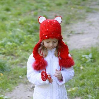 Шапка с помпонами для девочки (шапка кошка)