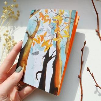 Блокнот с ярко-оранжевыми страницами. Осень. Формат А6. Оригинальный подарок