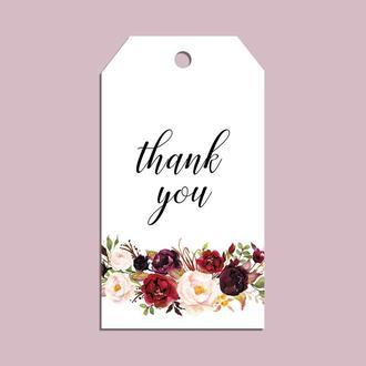 """Бірка-тег """"thank you"""" marsala"""