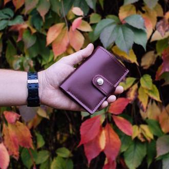 Женский кошелек из бордовой кожи. Небольшой бумажник. Кожаное портмоне.