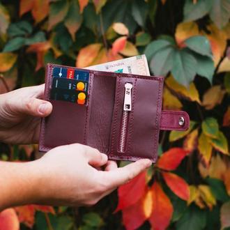 Кожаный кошелек для женщины. Небольшой бордовый кошелек