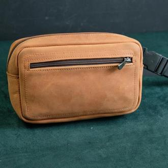 Кожаная поясная прямоугольная сумка Бананка с Натуральной кожи