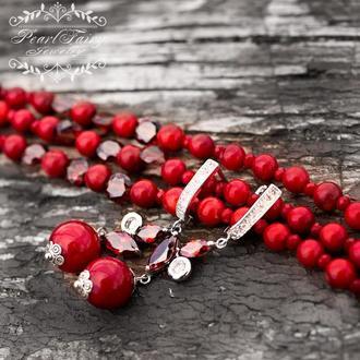 Натуральные кораллы и кристаллы комплект браслет и серьги