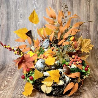 Осенняя интерьерная композиция декор для дома венок осенняя композиция венок подсвечник