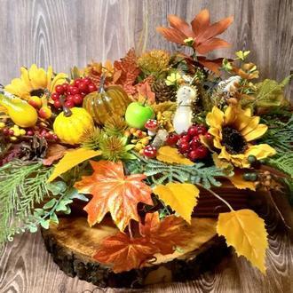 Осенний венок на дверь декор подсвечник реквизит осенняя композиция подарок Осіння композиція