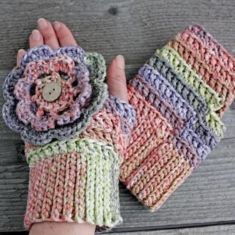 Короткие митенки перчатки без пальцев Бохо митенки с цветком Весенние перчатки для девушки