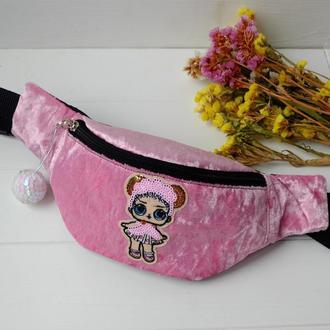 Сумка-бананка с куклой L.O.L. балерина,розовая поясная велюровая сумка с лол