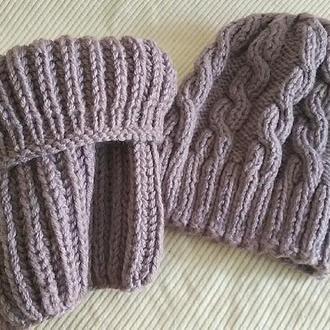 Вязанный комплект шапка и снуд, комплект для девушки, головной убор, осенний комплект