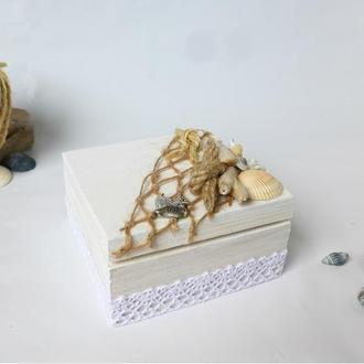 Шкатулка для свадебных колец в морском стиле