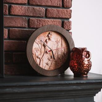 Часы настенные в технике ботанический барельеф. Ручная работа