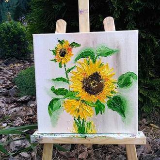 Картина маслом «Соняшники», 20х20