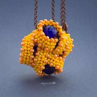 Солярная лента | Объемный кулон из бисера