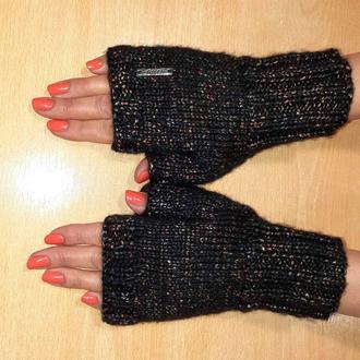 Вязаные митенки перчатки без пальцев - красивый меланж