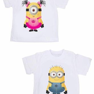 """ФП005400Парные футболки Push IT Family Look с принтом """"Миньоны"""""""