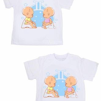 """ФП005399Парные футболки Push IT Family Look с принтом """"Близнецы"""""""