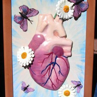 Объёмная картина из натуральной кожи Анатомия любви