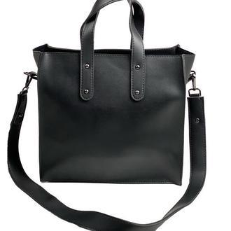 Сумка шоппер велика на блискавці стильна з екошкіри чорна